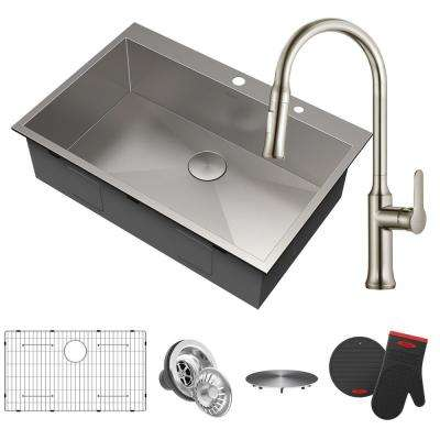 Pax All-in-One Drop-In Stainless Steel 33 in. 2-Hole Single Bowl Kitchen Sink with Pull-Down Faucet in Stainless Steel