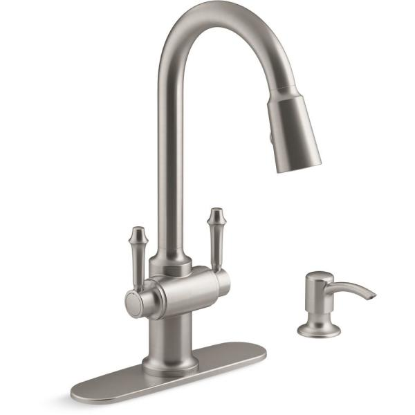 Kohler Thierry Two Handle Pull Down Sprayer Kitchen Faucet With Soap Dispenser In Vibrant Stainless K R22969 Sd Vs The Home Depot