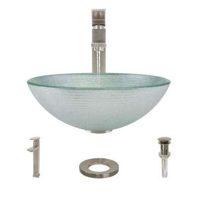 Glass Vessel Sink in Sparkling Silver with R9-7003 Faucet and Pop-Up Drain in Brushed Nickel