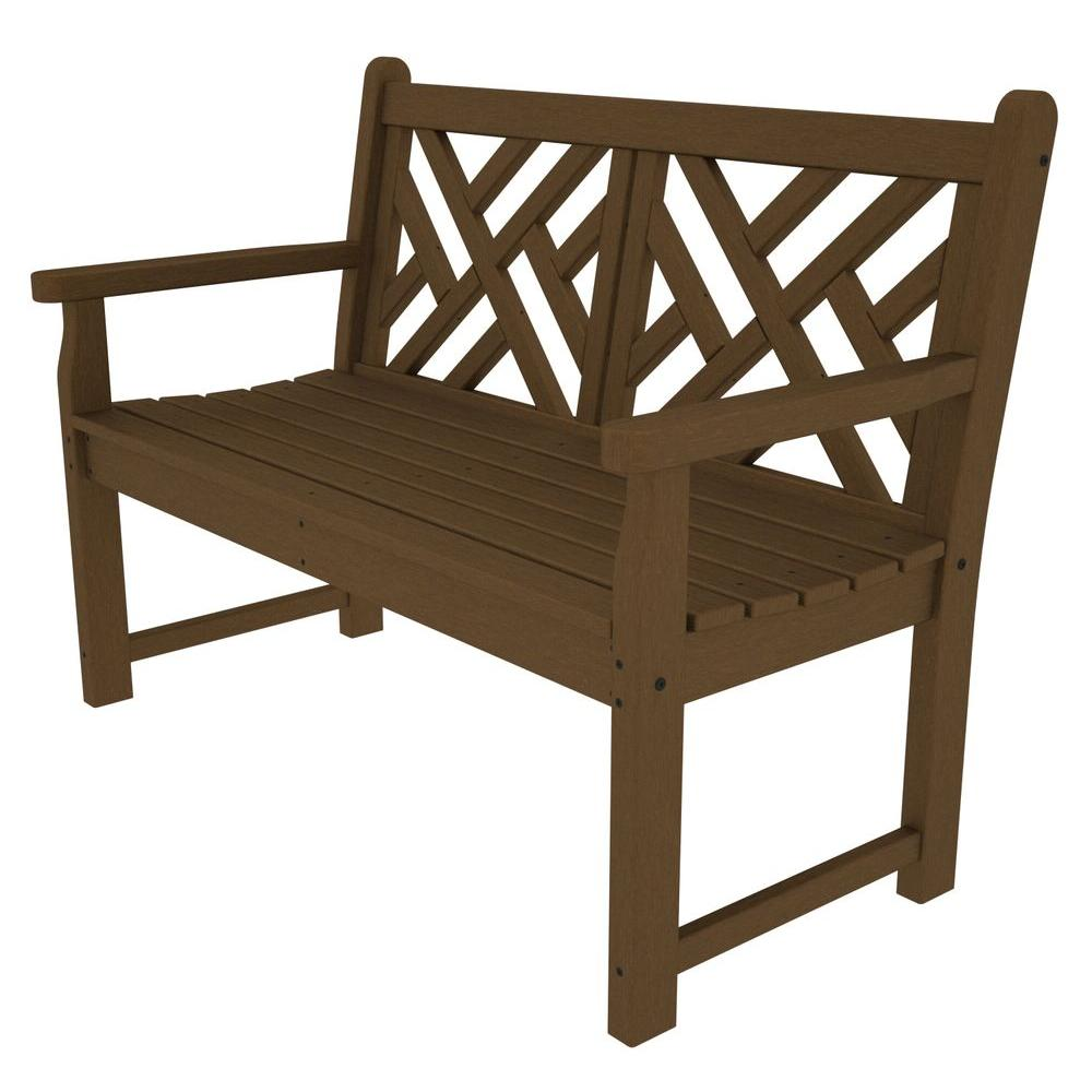 Polywood chippendale 48 in teak patio bench cdb48te the home depot Polywood bench