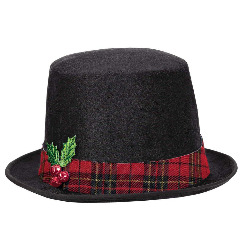 snowman christmas black top hat
