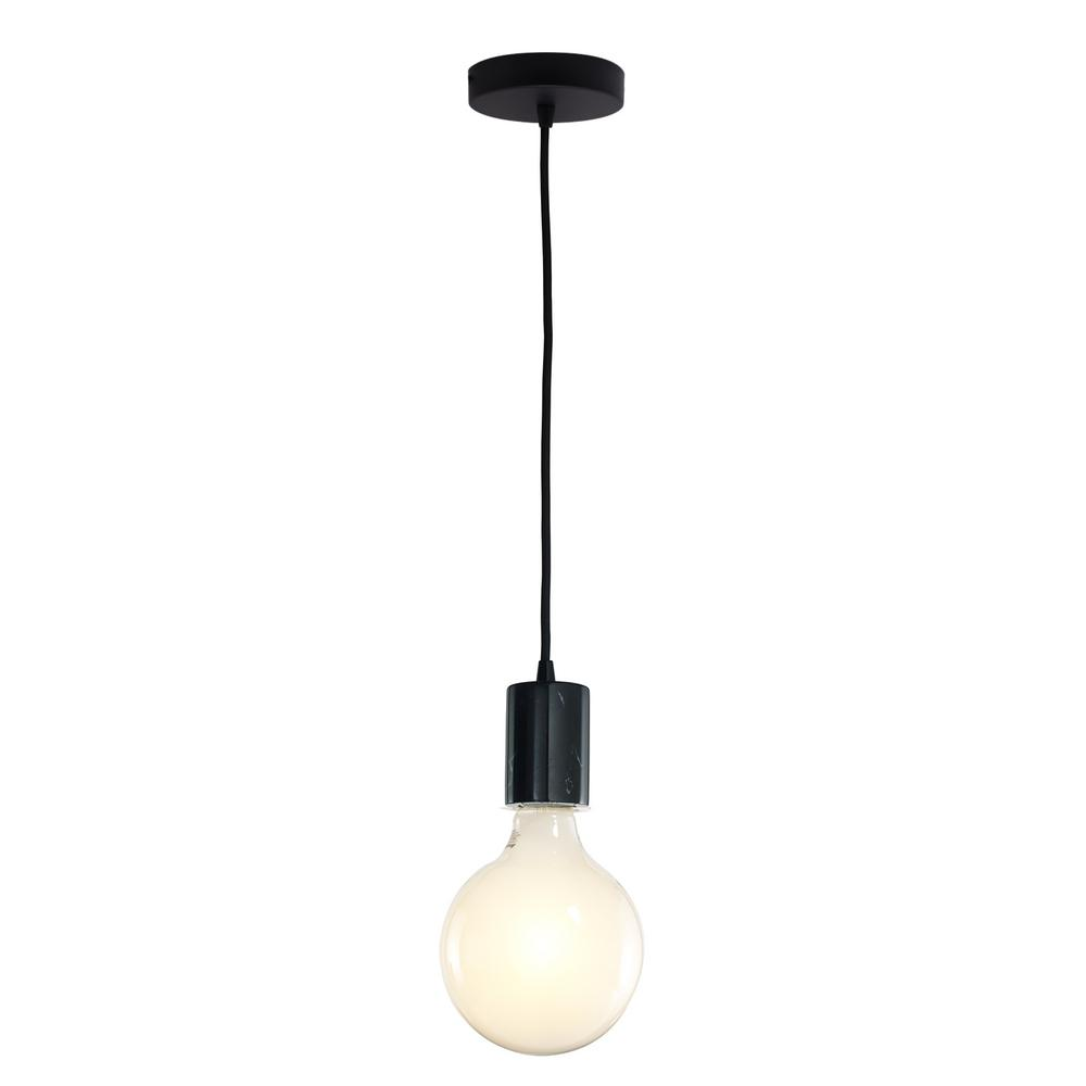 Bulbrite 1-Light Black Natural Marble Pendant Socket and Canopy with ...