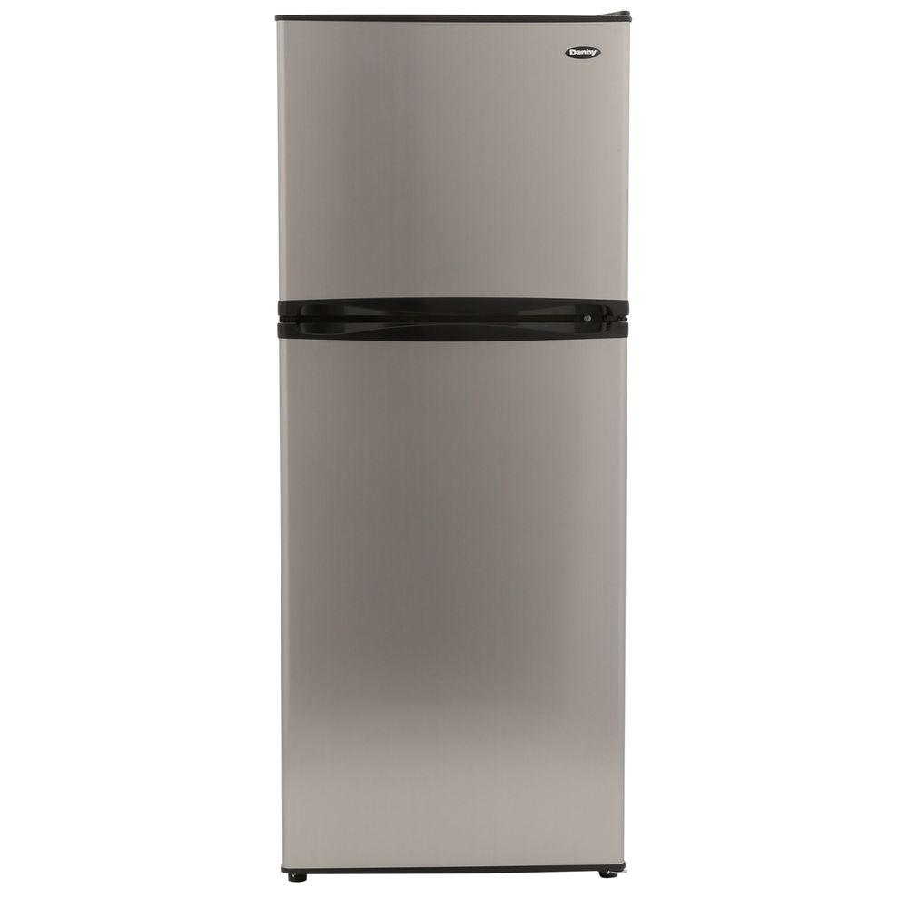 Danby 9.9 cu. ft. Top Freezer Refrigerator in Stainless Look ...