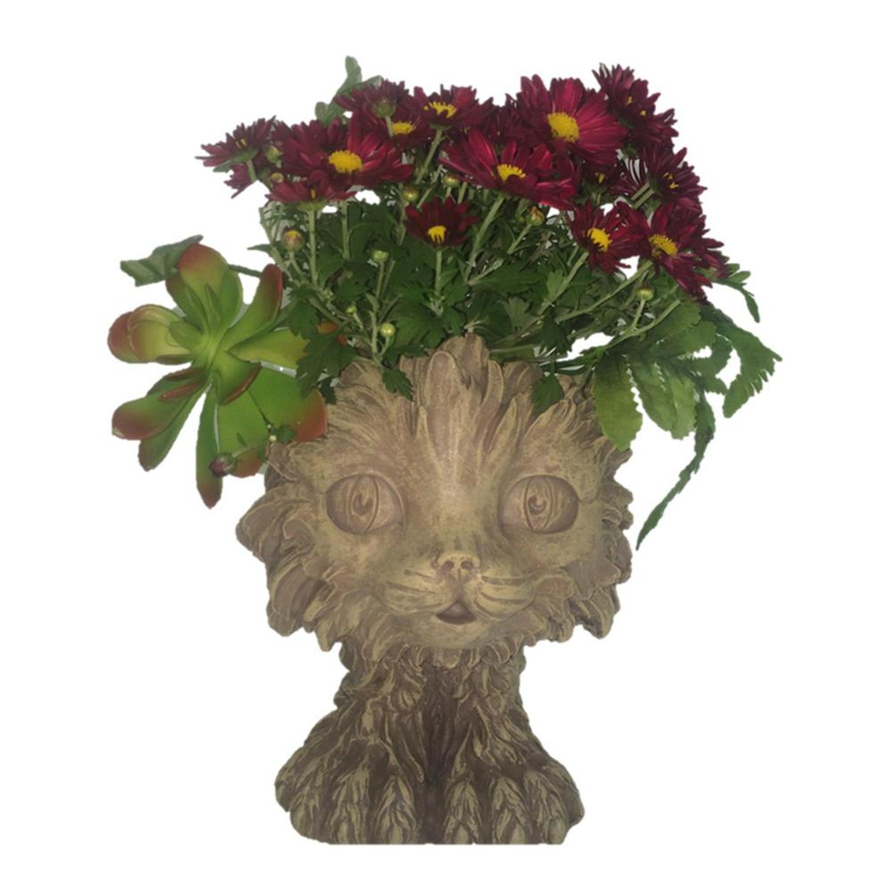 12 in. Stone Wash Scruffy the House Cat Muggly Planter Statue