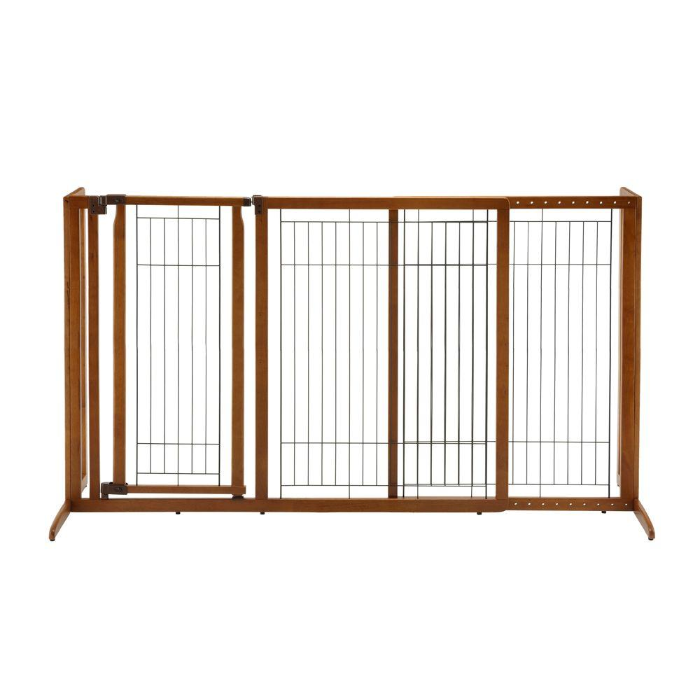 richell large wood freestanding pet gate with door 94190