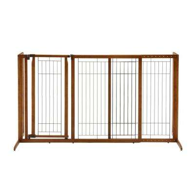 Large Wood Freestanding Pet Gate with Door