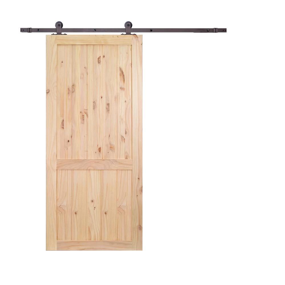 36 in.x84 in. 2-Panel Unfinished Natural Wood Sliding Barn Door and 6ft. Dark Coffee Top Mount Sliding Door Hardware Kit
