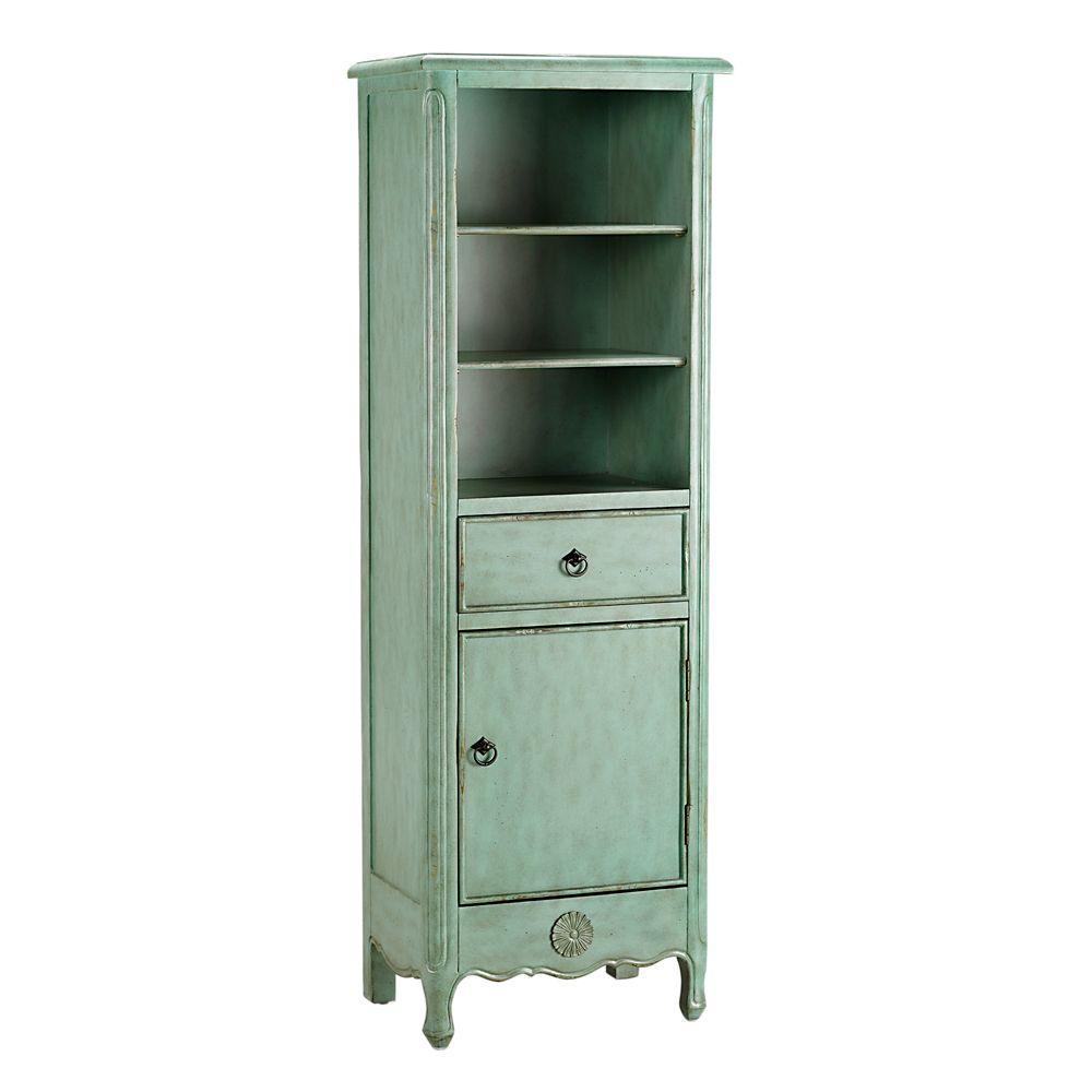 Home Decorators Collection Keys 60 in. H x 20 in. W Linen Cabinet in Aqua Marine