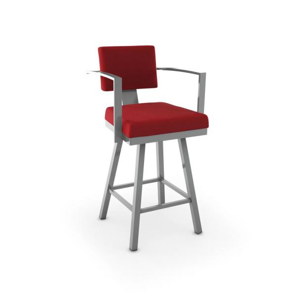 Amisco Akers 30 in. Glossy Grey Metal Red Polyester Barstool 41431-30/24HB