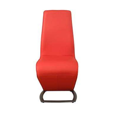 Hassel Red Leatherette and Gunmetal Side Chair (Set of 2)