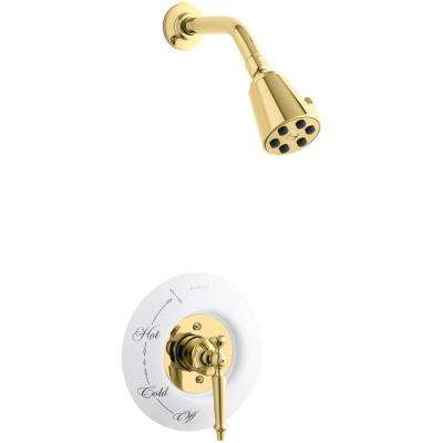 Antique 1-Spray 3.75 in. 2.5 GPM Fixed Shower Head with Lever Handle in Polished Brass