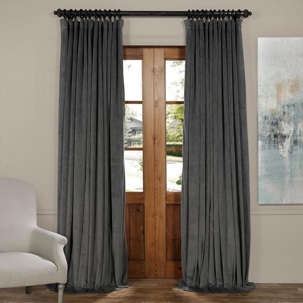 Blackout Signature Natural Grey Doublewide Blackout Velvet Curtain - 100 in.