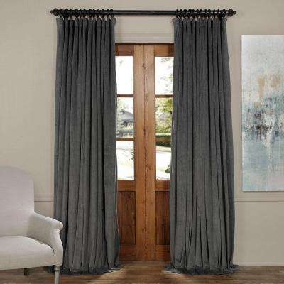 Blackout Signature Natural Grey Doublewide Blackout Velvet Curtain - 100 in. W x 96 in. L (1 Panel)