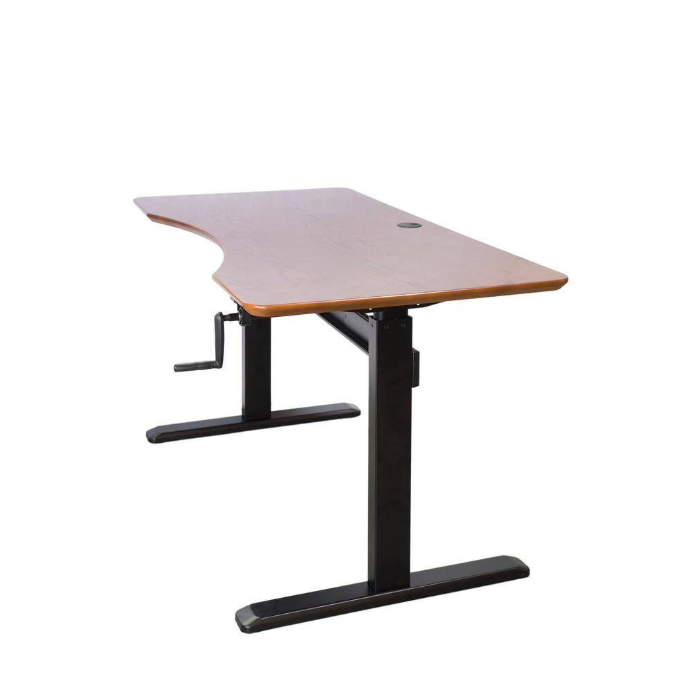 Antique Brown Wood Shaded Design Desktop Table Top with Black Adjustable Height Crank Desk Frame