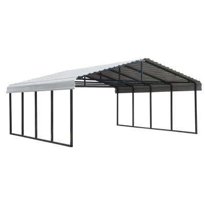20 ft. W x 20 ft. D Eggshell Galvanized Steel Carport , Car Canopy and Shelter