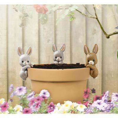 Bunny 3.5 in. Resin Pot Decorative Pot Sitters (3-Pack)
