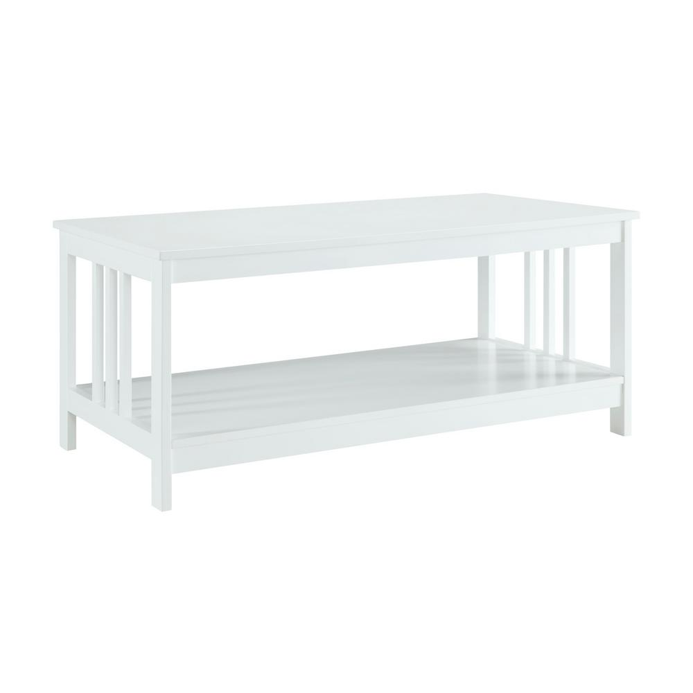 Convenience Concepts Misson White Coffee Table 203382w The Home Depot