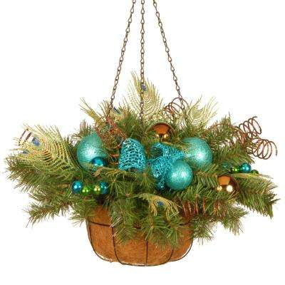 22 in. Decorative Collection Peacock Hanging Basket