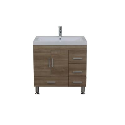 The Modern 29.375 in. W x 19 in. D Bath Vanity in Light Oak with Acrylic Vanity Top in White with White Basin