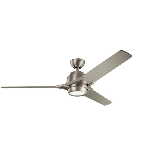 Kichler Zeus 60 In Integrated Led Indoor Brushed Nickel Downrod Mount Ceiling Fan With Light Kit And Wall Control 300060ni The Home Depot