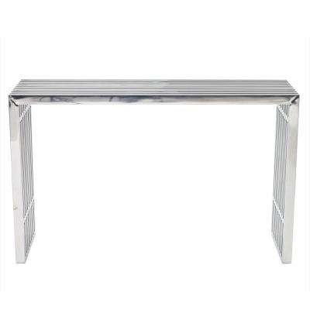 Silver Gridiron Console Table