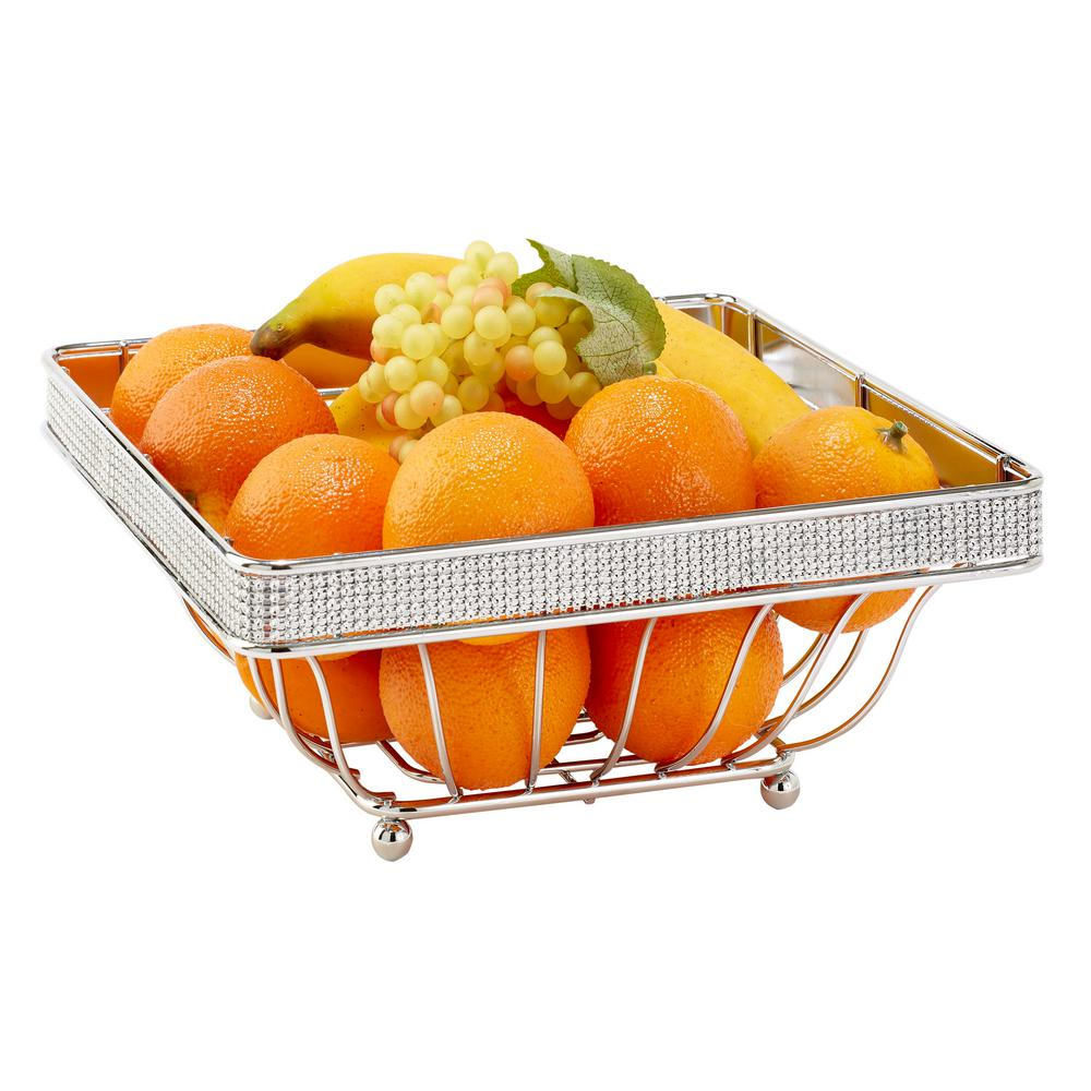 Kitchen Details Chrome Fruit Basket In Pave Diamond Design