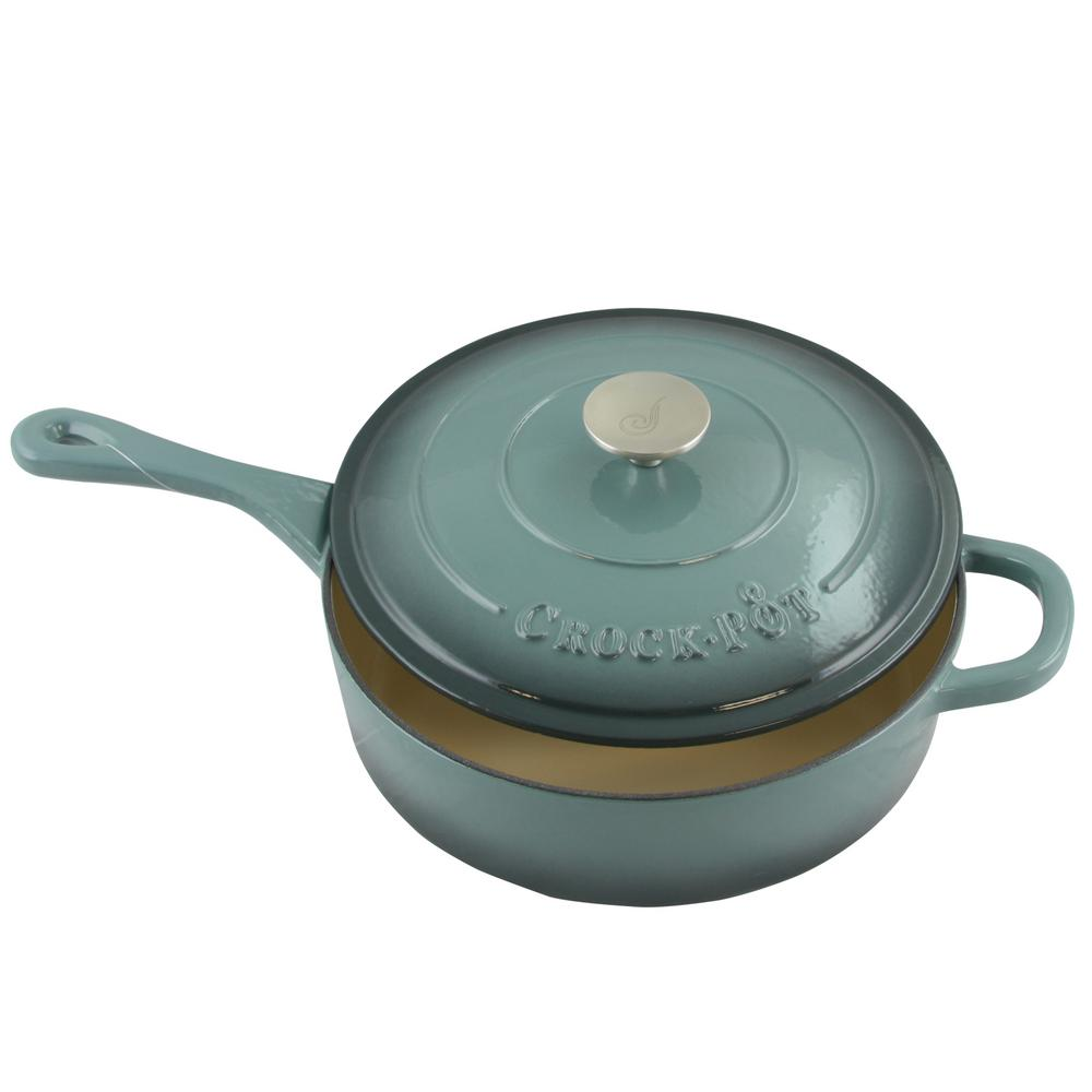 Crock-Pot Artisan 3.5 Qt. Enameled Cast Iron Deep Saute Pan with ...