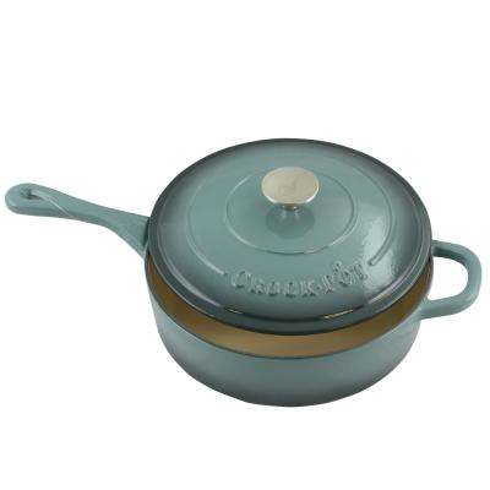 Artisan 3.5 Qt. Enameled Cast Iron Deep Saute Pan with Self Basting Lid
