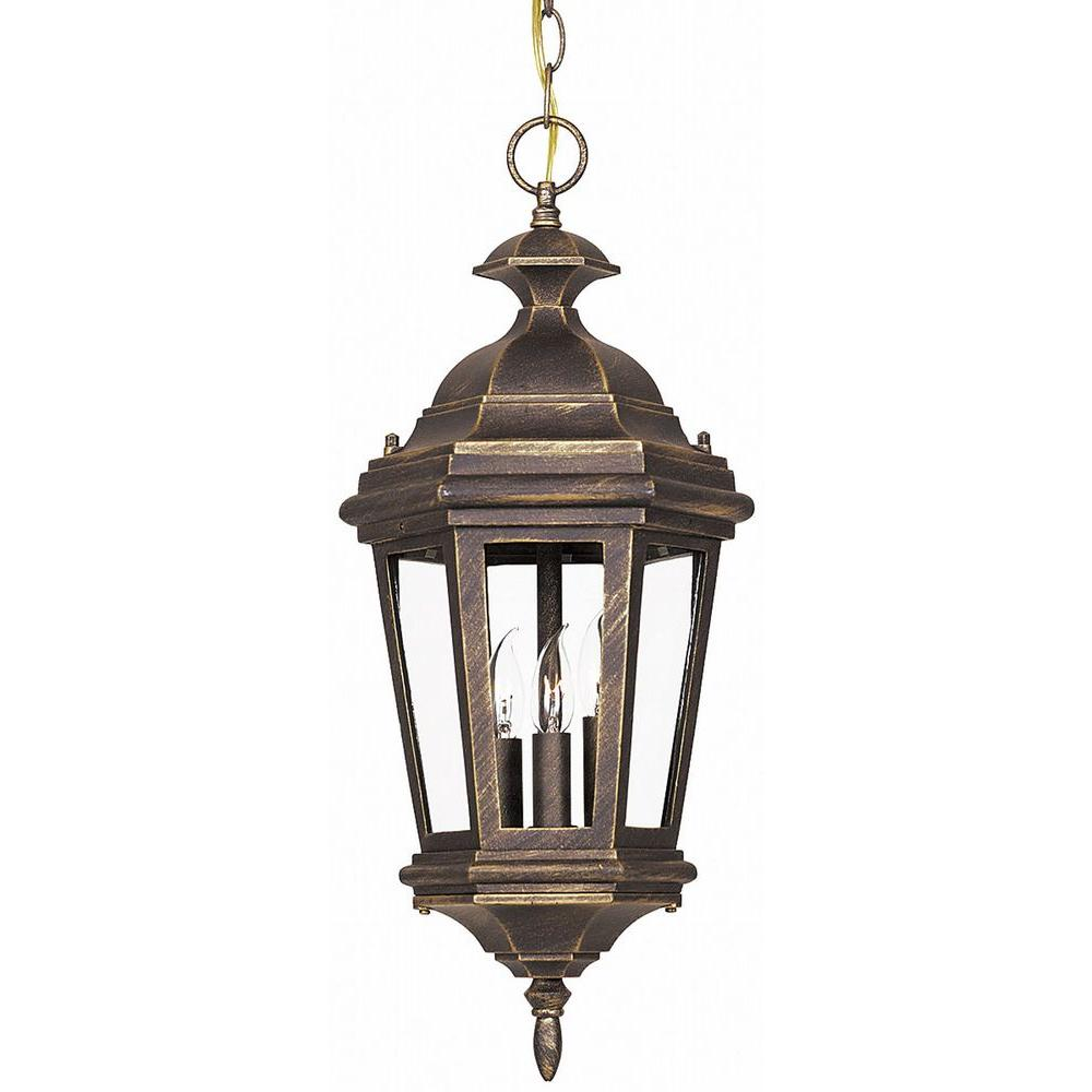 Kenroy Home Estate 21 in. Antique Patina 3-Light Hanging Lantern-DISCONTINUED