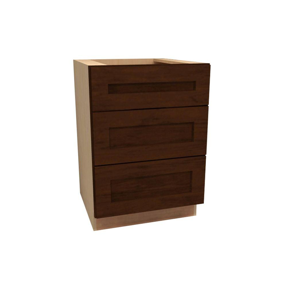 Home Decorators Collection Assembled 30x34.5x24 in. Cooktop Base Cabinet with False Top Drawer in Huntington Chocolate Glaze