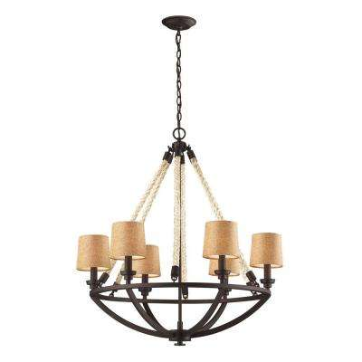Natural Rope 6-Light Aged Bronze Billiard Light With Tan Linen Shades