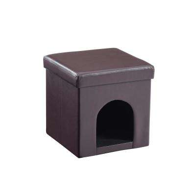 Faux Leather Collapsible Pet Brown Ottoman