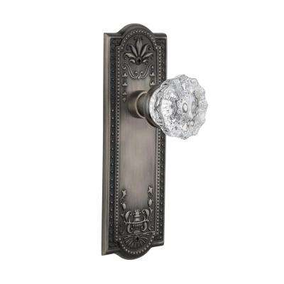 Meadows Plate Single Dummy Crystal Glass Door Knob In Antique Pewter