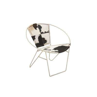 Western Black and White Leather Saucer Chair