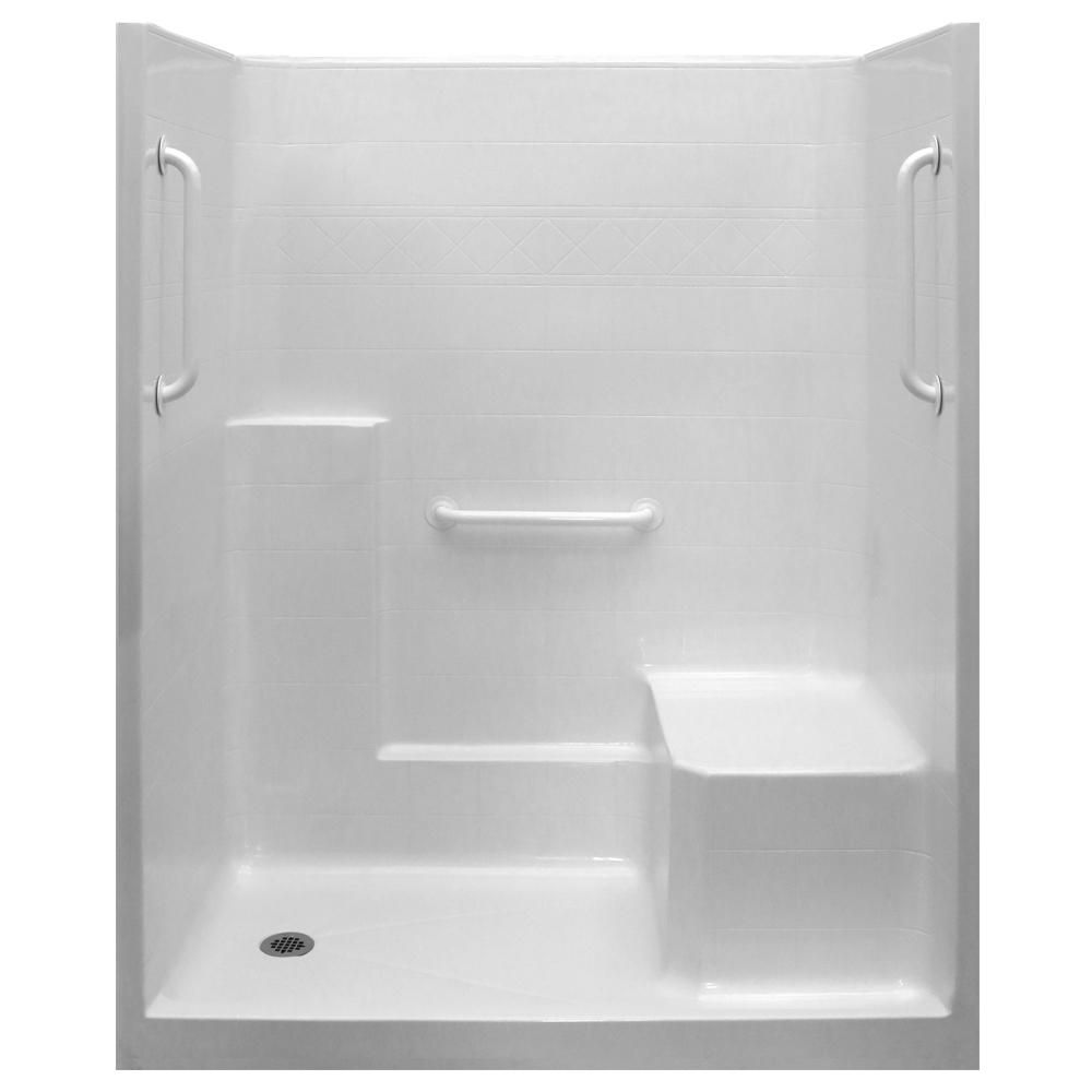 Ella Ultimate-W 36 in. x 60 in. x 77 in. 1-Piece Low Threshold Shower Stall in White, Grab Bars, Molded Seat, Left Drain