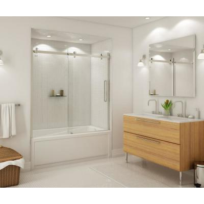 Halo 59 in. x 59 in. Frameless Sliding Tub Door in Brushed Nickel