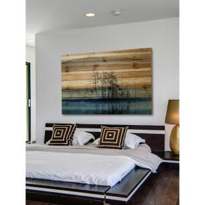 "12 in. H x 18 in. W ""Tree Isle Reflects"" by Parvez Taj Printed Natural Pine Wood Wall Art"