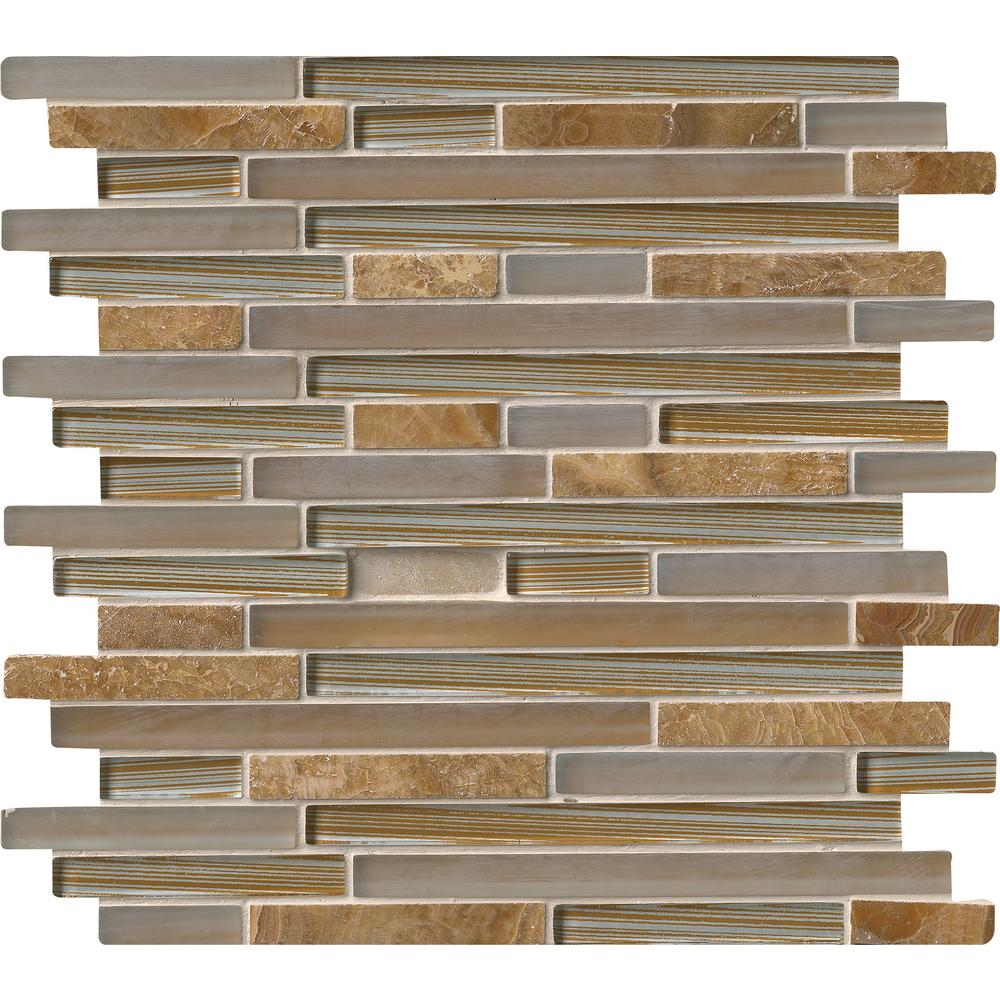 MS International Pelican Sand Interlocking 12 in. x 12 in. x 8 mm Glass and Stone Mesh-Mounted Mosaic Tile