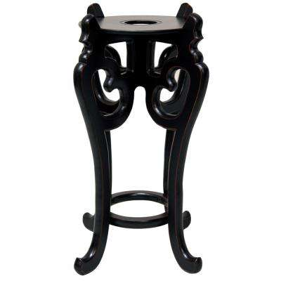 Oriental Furniture 11 in. Rosewood Fishbowl Stand in Black