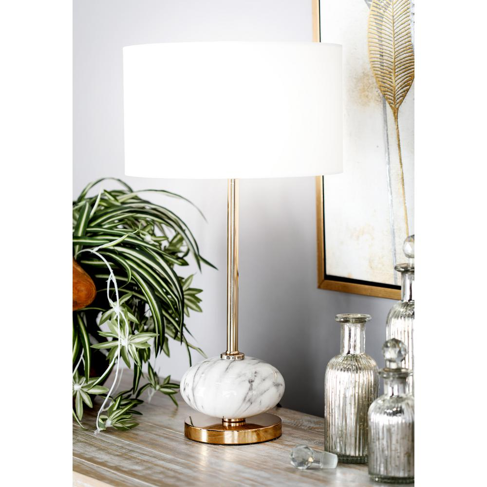 22 in. White Ceramic Table Lamp with Drum Shade