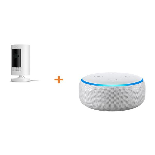 Stick Up Camera Plug-In Indoor/Outdoor Standard Security Camera, White with Echo Dot- Sandstone (3rd Gen)