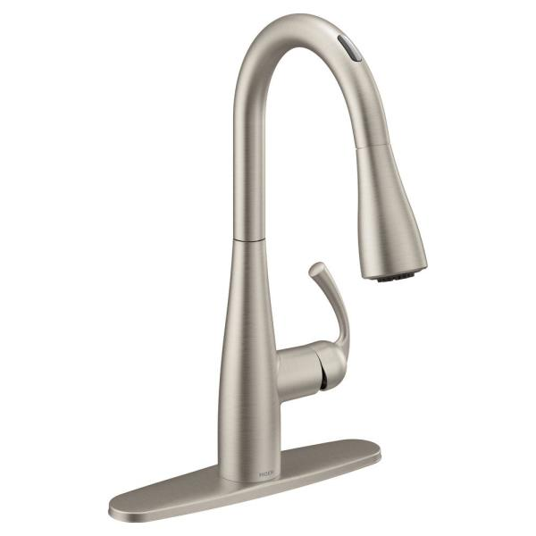 U by Essie Single-Handle Pull-Down Sprayer Smart Kitchen Faucet with Voice Control in Spot Resist Stainless