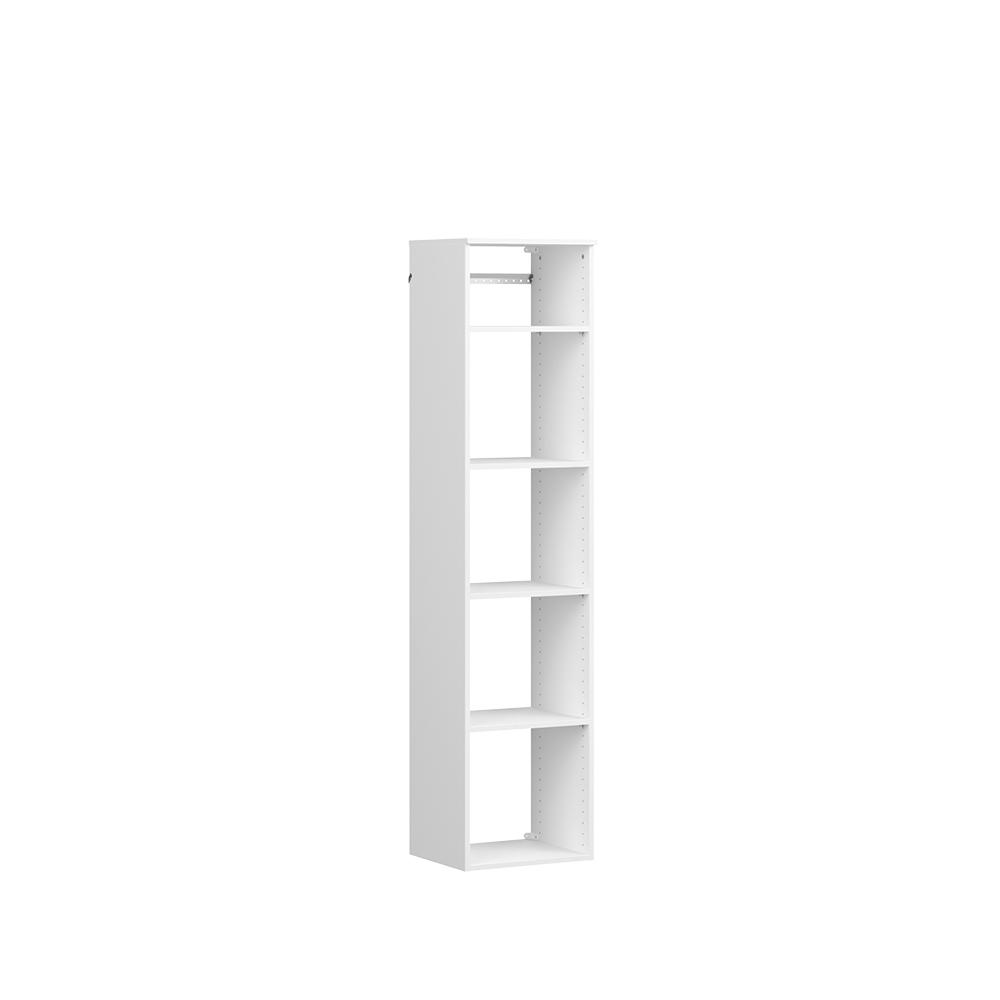 ClosetMaid Style+ 15 in. D x 17 in. W x 72 in. H White Melamine Hanging 5-Shelves Closet System