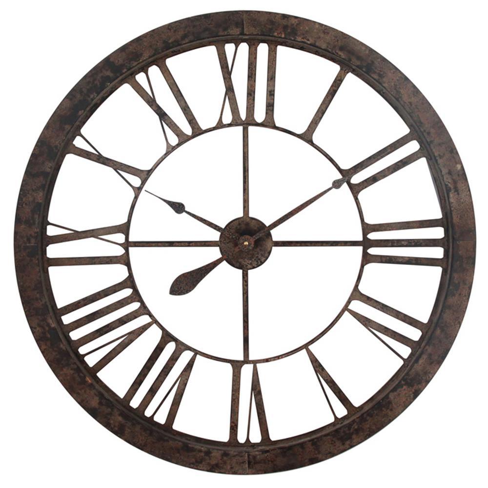 Tower Clock II Rustic Brown/Black Wall Clock