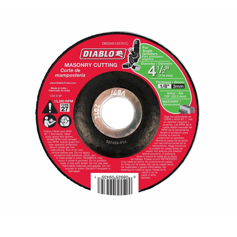 Diablo 4-1/2 in. x 1/8 in. x 7/8 in. Masonry Cutting Disc with Type 27 Depressed Center
