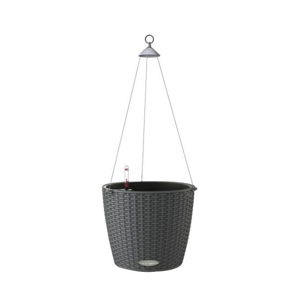 Trend Nido Cottage Hanging Basket 9 in. dia. Granite Self Watering Plastic Planter