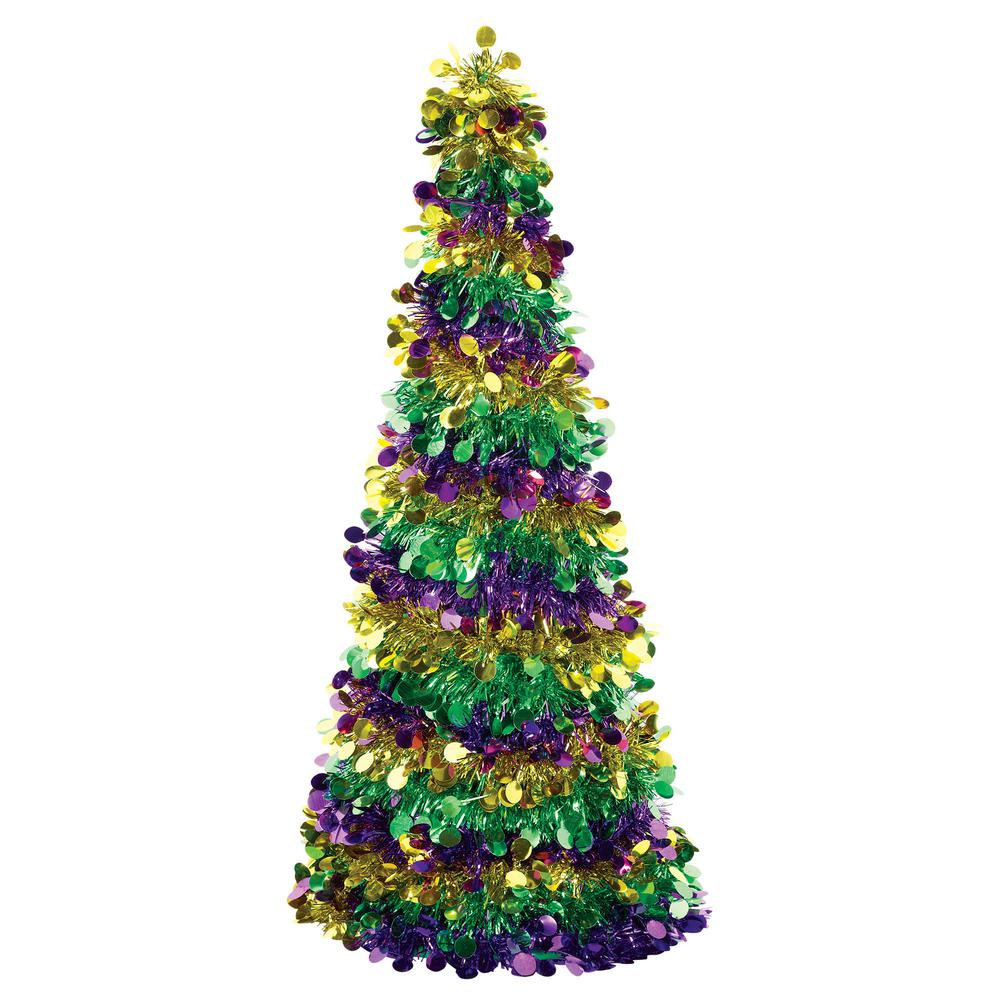 newest fbe97 747ab Amscan 18 in. Mardi Gras Large Tinsel Tree (3-Pack)