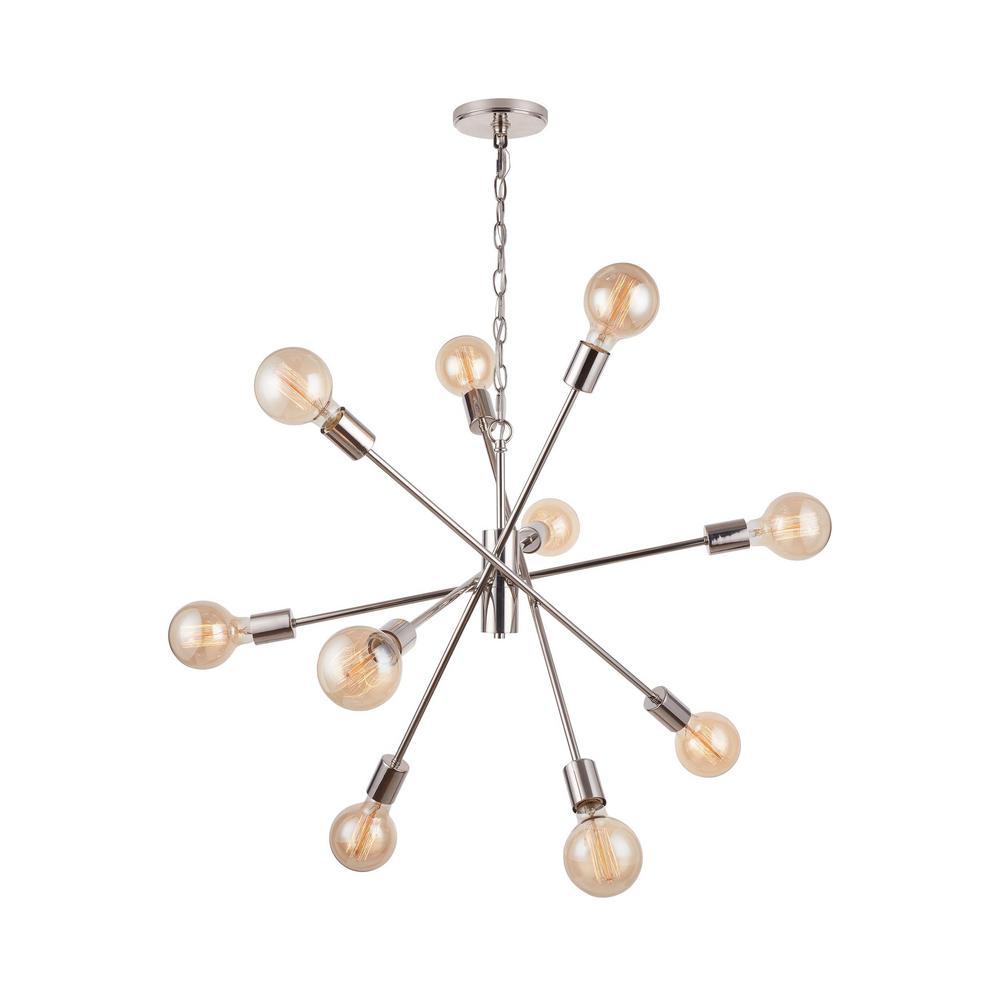 Fife 10-Light Polished Nickel Sputnik Chandelier with G30 Vintage Bulbs