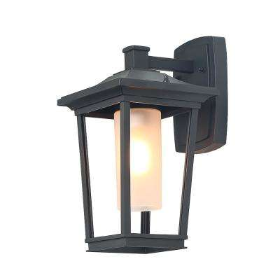 1-Light Iron Matt Black Outdoor Wall Mount Lantern with Frosted Cylinder Glass