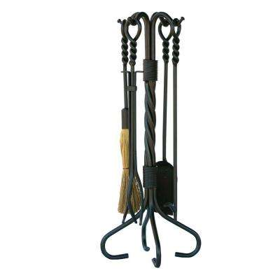Old World Iron 5-Piece Fireplace Tool Set with Twist Base and Integrated Loop Handles